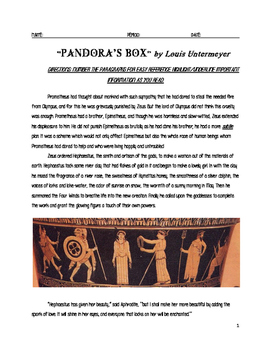 Pandora's Box Myth with Post Reading Questions and Key