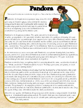 Pandora's Box Greek Myth Close Reading Passage