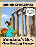 Pandora's Box Greek Myth Close Reading Comprehension Passage and Questions