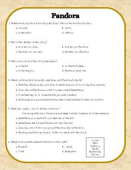 Pandoras Box Greek Myth Close Reading Comprehension