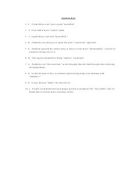 Pandora's Box and Aunty Misery Vocabulary Quiz Worksheet