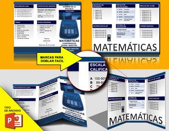 Panfleto Brochure Editable para Matematicas Uso Multiple