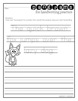 Pangram Mini-Anchor Chart and Handwriting Practice Worksheet