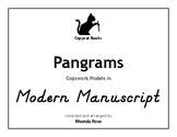 Pangrams Copywork in Modern Manuscript