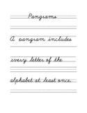 Pangrams Cursive Copyword Sentences