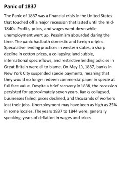 Panic of 1837 Handout