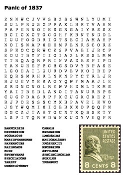 Panic of 1837 Word Search