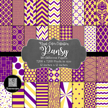12x12 Digital Paper - Dual-Color Collection: Pansy