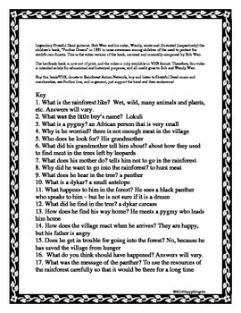 Panther Dream by Bob and Wendy Weir Comprehension Questions