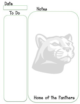 Panther mascot to do and notes green