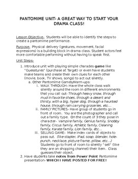 Pantomime Acting Unit for Drama Class! Performance Directions & Rubrics