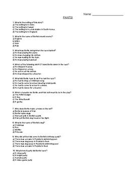 Pants! (Dirty Bertie) Comprehension Quiz