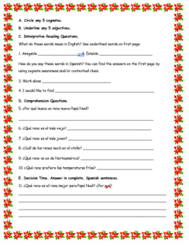 Papa Noel Christmas/Navidad Interpretive Reading Activity or Sub Plan
