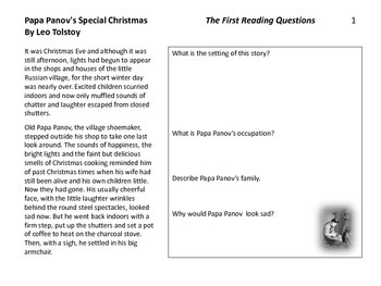 Papa Panov's Special Christmas-- A Short Story To Teach Literacy Standards