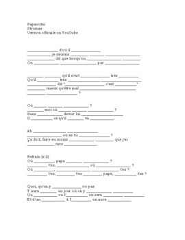 French song cloze activity: Papaoutai (Stromae)