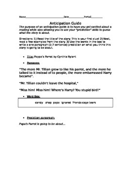 Papa's Parrot Anticipation Guide