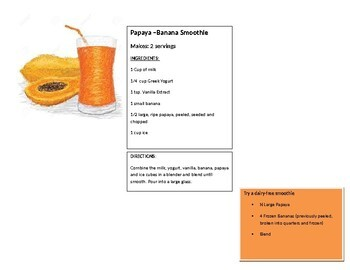 Papaya Fruit Smoothie Graphing