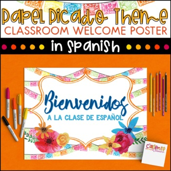 Spanish Welcome Poster - Papel Picado Theme