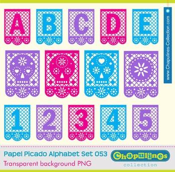 Papel picado clip art, letters, numbers, skulls, Mexico dí