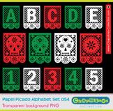 Papel picado clip art,numbers, skulls, Mexico día de muertos, alphabet