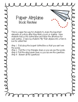 Paper Airplane Book Review/Report! Common Core Aligned.