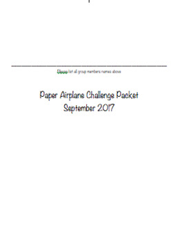 Paper Airplane Challenge Packet