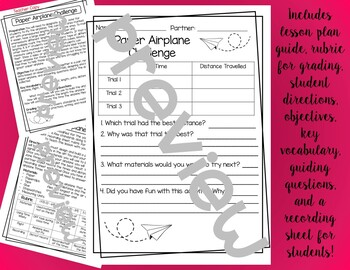 Paper Airplane Challenge Worksheets & Teaching Resources | TpT