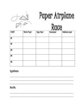 Paper Airplane Data Chart