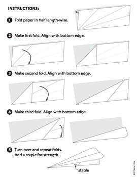 Paper Airplane. Folding on the lines. Directions to follow