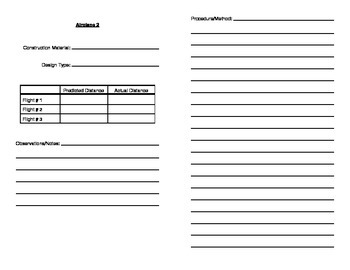 Paper Airplane Science Experiment Data Recording Booklet