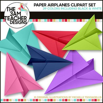Paper Airplanes: Clipart Set  - 39 Graphics Included!