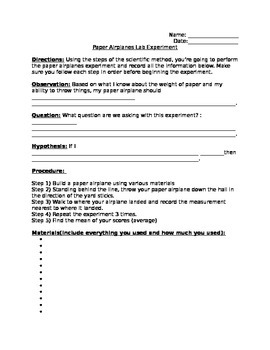 Paper Airplanes Experiment Sheet