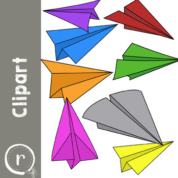 Paper Airplanes Line Art (RDS Clipart)