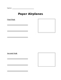 Paper Airplanes Recording Sheet