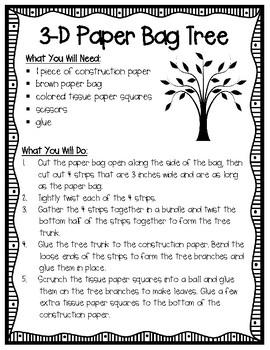 Paper Bag 3-D Tree Craft Activity