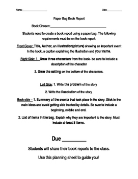 Paper Bag Book Report Template