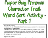Paper Bag Princess Character Traits and Text Evidence