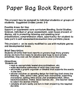 Paper Bag Project (Great Project to Support Core Curriculum!)
