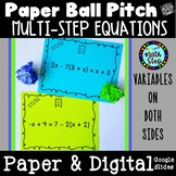 Paper Ball Pitch Solving Multi-Step Equations variables both sides
