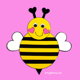 Paper Bumble Bee Template with Heart Shapes