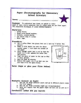 Paper Chromatography for Beginners (5th and 6th grades)