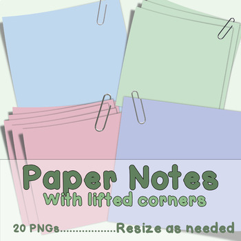 Paper Clip Art  Notes with Lifted Corners and Paperclips