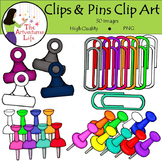 Paper Clips, Push Pins and Clamps Clip Art