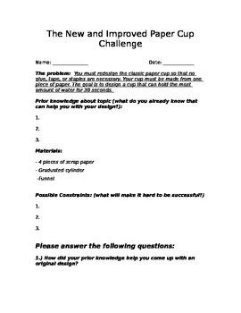 Paper Cup Engineering Challenge