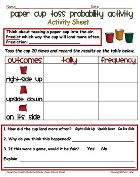 Paper Cup Toss Probability Activity