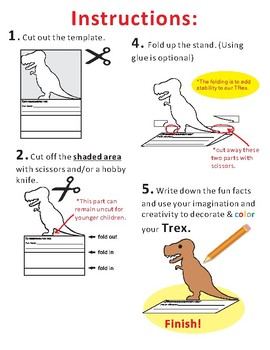 Paper Cutting Craft: TRex Dinosaur
