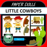 Paper Dolls COWBOY WESTERN Imaginative Dramatic Play PreK-2 Preschool Kindy