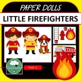 Paper Dolls LITTLE FIREFIGHTERS Imaginative Dramatic Play PreK-2 Preschool Kindy
