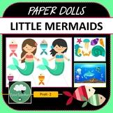 Paper Dolls LITTLE MERMAIDS Imaginative Dramatic Play PreK-2 Preschool Kindy