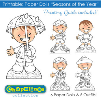 photograph regarding Paper Dolls to Printable identified as Paper Dolls - Printable - Seasons of the 12 months - Boys - Colour BW - Mounted 026